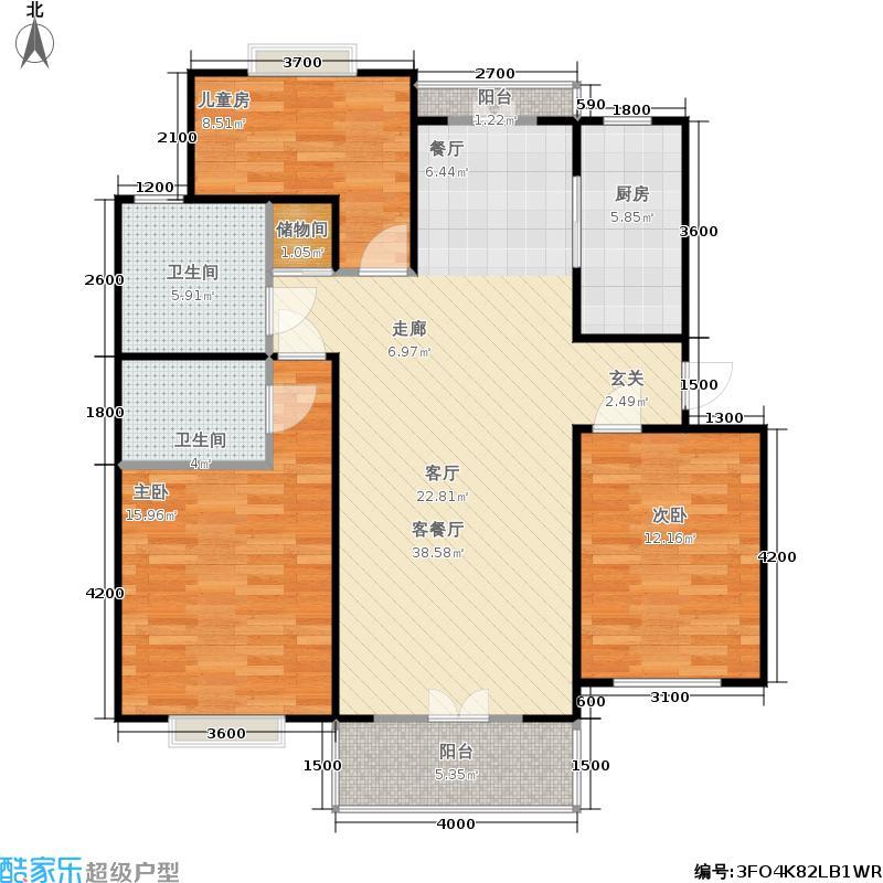书香桃苑第四期户型3室1厅2卫1厨