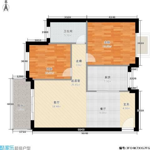 三城花苑2室0厅1卫1厨90.00㎡户型图