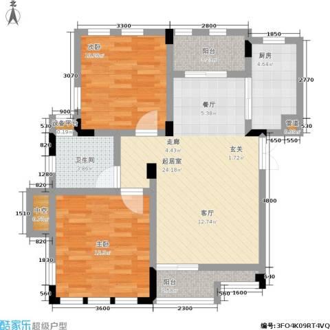 海昌加勒比2室0厅1卫1厨68.00㎡户型图
