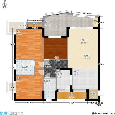 尚阳康城3室1厅2卫1厨94.00㎡户型图