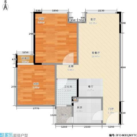 艾佳天泰2室1厅1卫1厨49.00㎡户型图