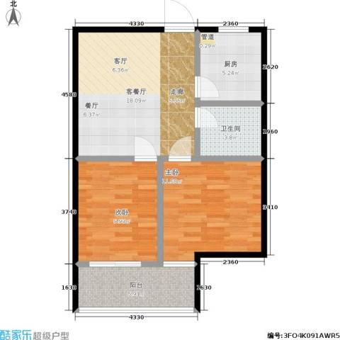 创景20002室1厅1卫1厨62.00㎡户型图