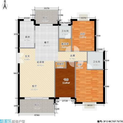 三城花苑3室0厅2卫1厨128.00㎡户型图