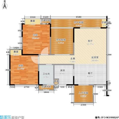 协能枫馨丽园2室0厅1卫1厨80.97㎡户型图
