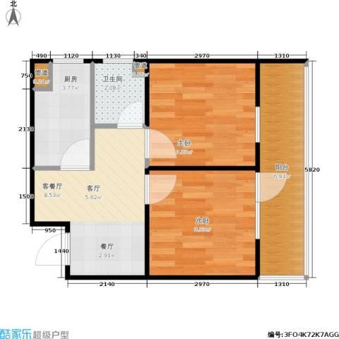 枫丹白露2室1厅1卫1厨49.00㎡户型图