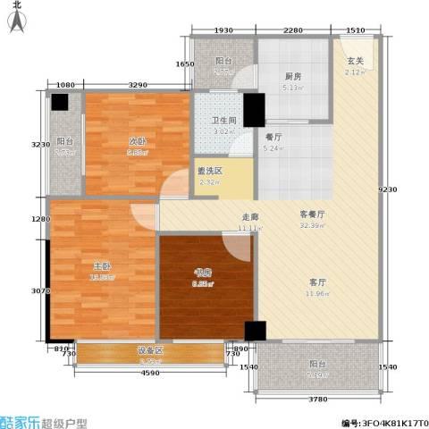 玫瑰馨苑3室1厅1卫1厨95.00㎡户型图