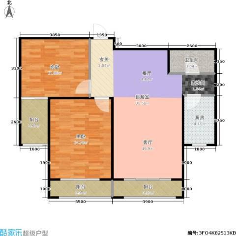 金水花城二期2室0厅1卫1厨90.00㎡户型图