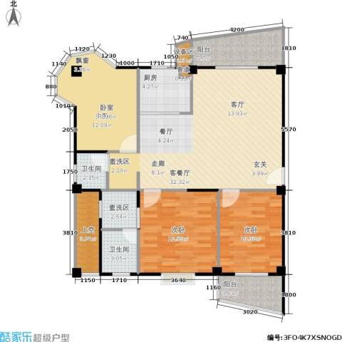 尚美花城3室1厅2卫1厨102.80㎡户型图