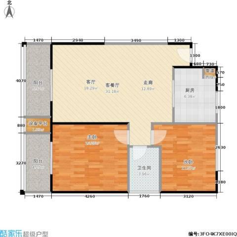 庆阳观邸2室1厅1卫1厨98.00㎡户型图