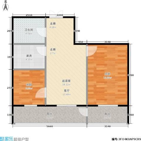 锋华城2室0厅1卫1厨79.00㎡户型图