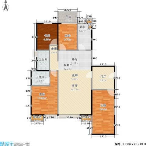 禹洲大学城4室1厅2卫1厨127.00㎡户型图