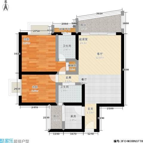 南桥静月2室0厅2卫1厨68.00㎡户型图