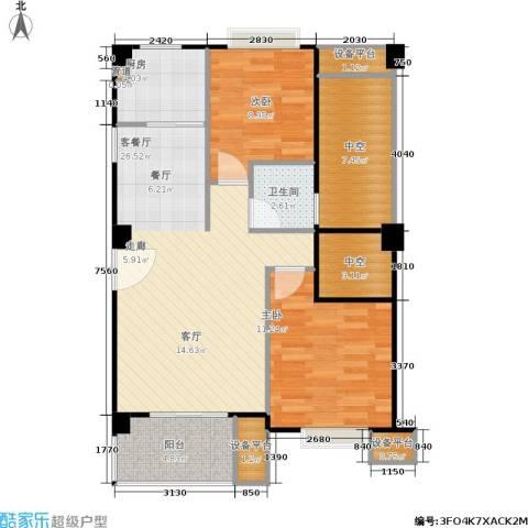 香港公馆2室1厅1卫1厨99.00㎡户型图