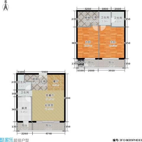 万通新城国际2室1厅2卫1厨146.00㎡户型图