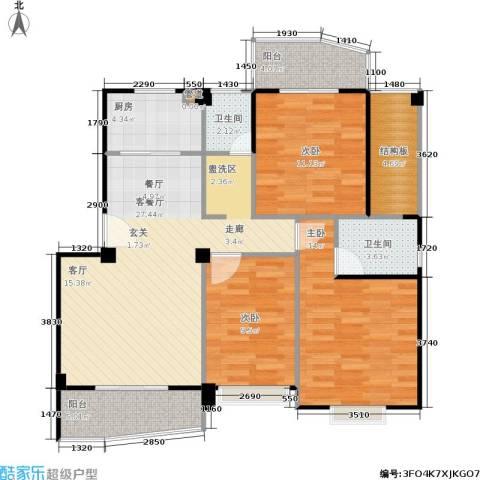 尚美花城3室1厅2卫1厨94.26㎡户型图