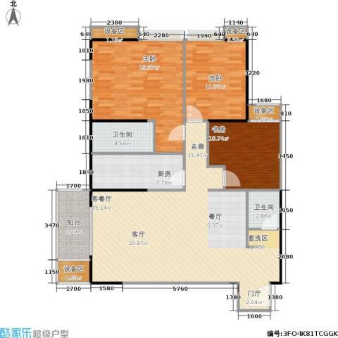 禹洲大学城3室1厅2卫1厨152.00㎡户型图