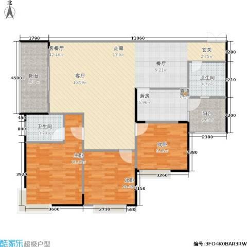 银海北极星3室1厅2卫1厨103.76㎡户型图