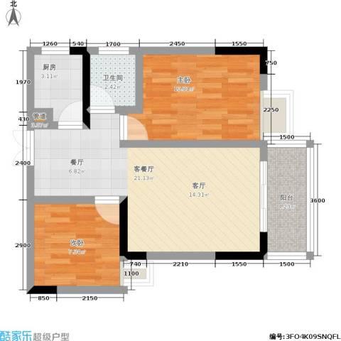 宏声新座2室1厅1卫1厨73.00㎡户型图
