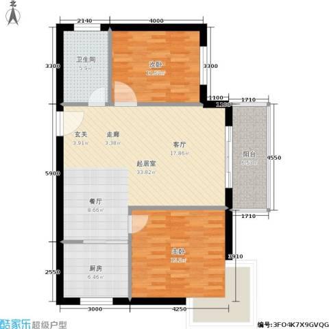三城花苑2室0厅1卫1厨89.00㎡户型图