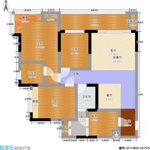 元佳广场3室1厅2卫1厨87.00㎡户型图