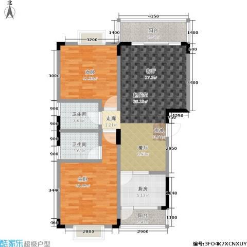 青麓雅园2室0厅2卫1厨102.00㎡户型图