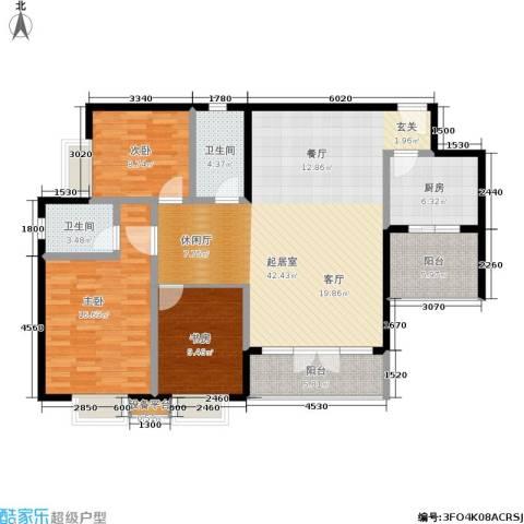 新城绿洲3室0厅2卫1厨108.00㎡户型图