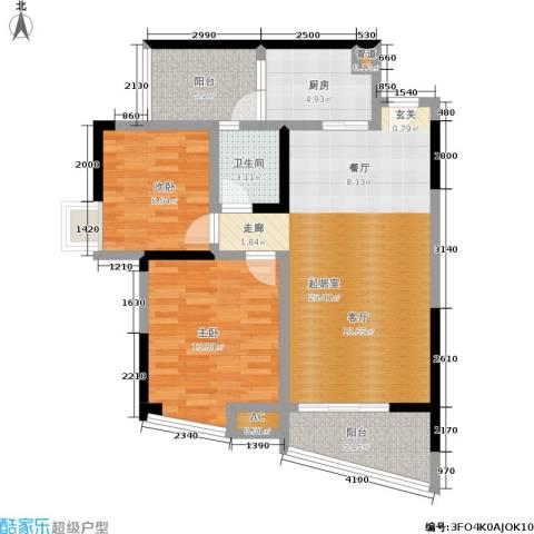 岭秀枫景2室0厅1卫1厨71.18㎡户型图