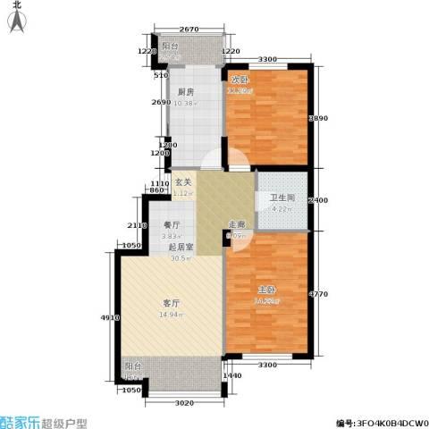 城建梦翔之家2室0厅1卫1厨80.00㎡户型图