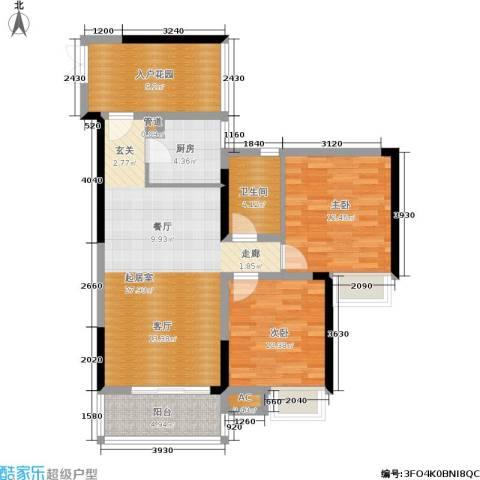 岭秀枫景2室0厅1卫1厨73.91㎡户型图