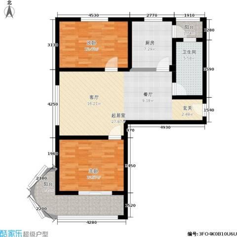 浦洲花园2室0厅1卫1厨88.00㎡户型图