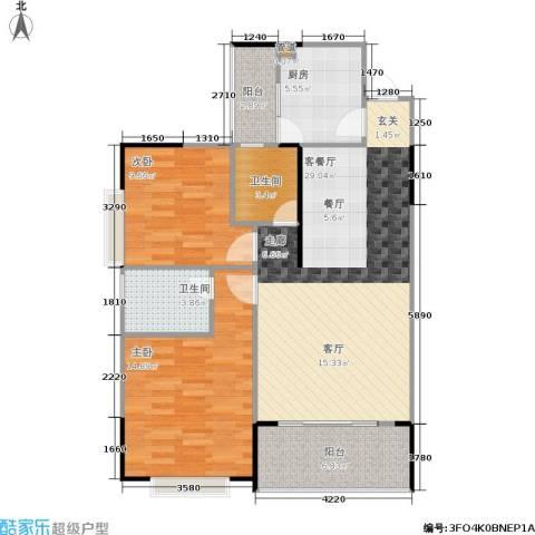 银海北极星2室1厅2卫1厨103.00㎡户型图