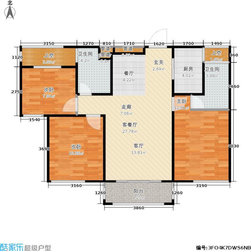 中梁・香缇公馆平层户型3室1厅2卫1厨