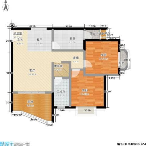 新城绿洲2室0厅1卫1厨77.66㎡户型图