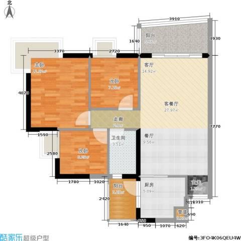 富力桃园3室1厅1卫1厨101.00㎡户型图
