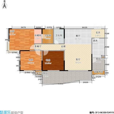 贝迪新城3室1厅2卫1厨109.23㎡户型图