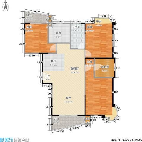昌城月美湾3室1厅2卫1厨123.00㎡户型图