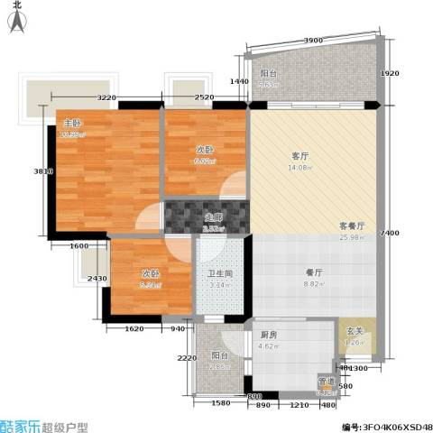 富力桃园3室1厅1卫1厨92.00㎡户型图