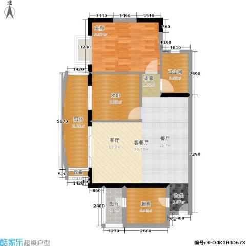 富力桃园2室1厅1卫1厨104.00㎡户型图