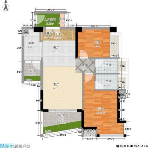 花城广场2室1厅2卫1厨108.00㎡户型图