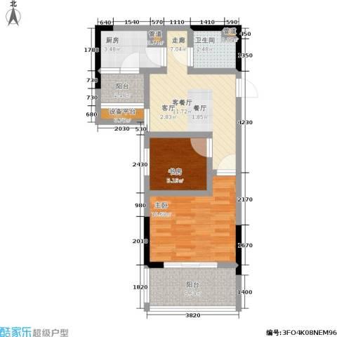元佳广场2室1厅1卫1厨46.00㎡户型图
