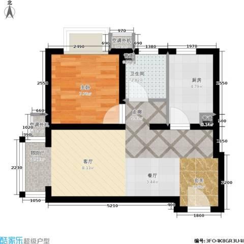富地广场1室1厅1卫1厨58.00㎡户型图