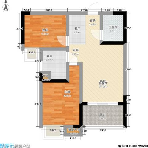 元佳广场2室1厅1卫1厨55.00㎡户型图
