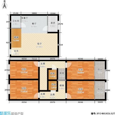 领先心城一期4室1厅1卫1厨124.00㎡户型图