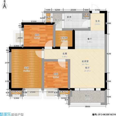 东海岸聚点3室0厅1卫1厨99.00㎡户型图