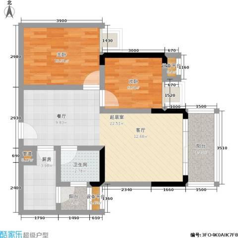 东海岸聚点2室0厅1卫1厨79.00㎡户型图