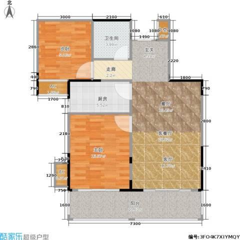 金联居2室1厅1卫1厨80.00㎡户型图