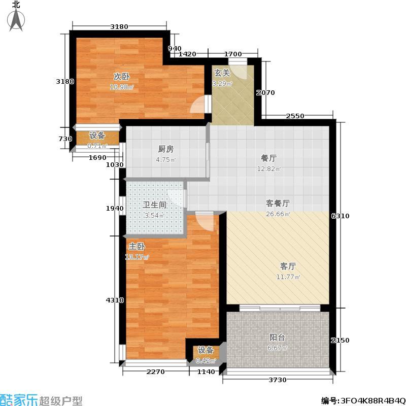 角美中骏四季阳光D户型77㎡2房2厅1卫户型2室2厅1卫