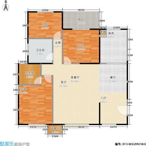 禹洲大学城3室1厅2卫1厨165.00㎡户型图