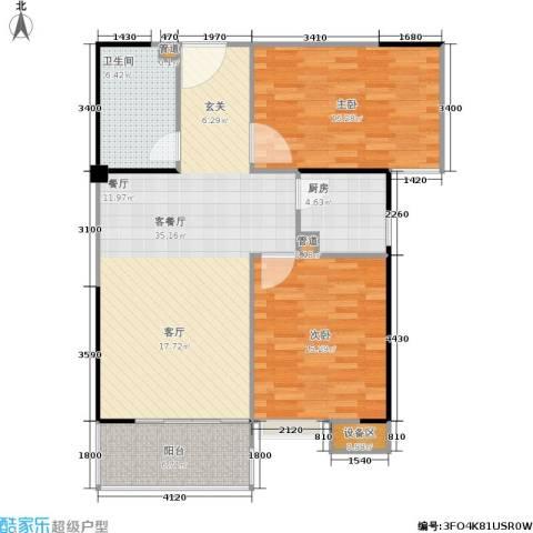 禹洲大学城2室1厅1卫1厨115.00㎡户型图