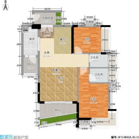 花城广场2室1厅2卫1厨116.00㎡户型图